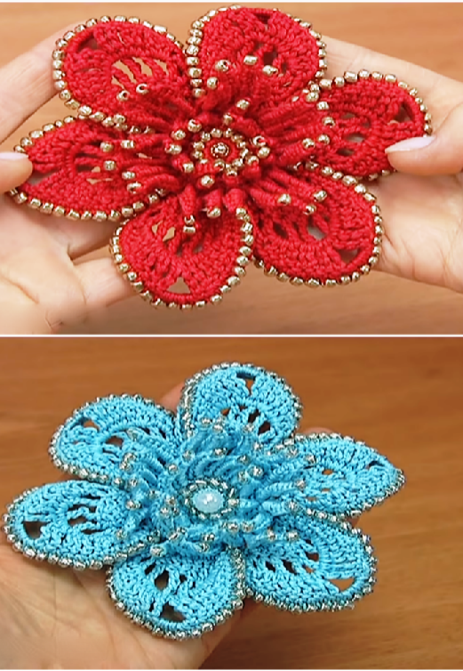 Crochet Beautiful Flower Applique