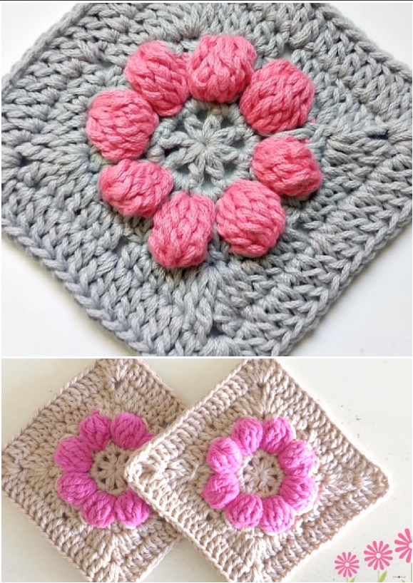 Crochet Granny Square With Puff Stitch Flower