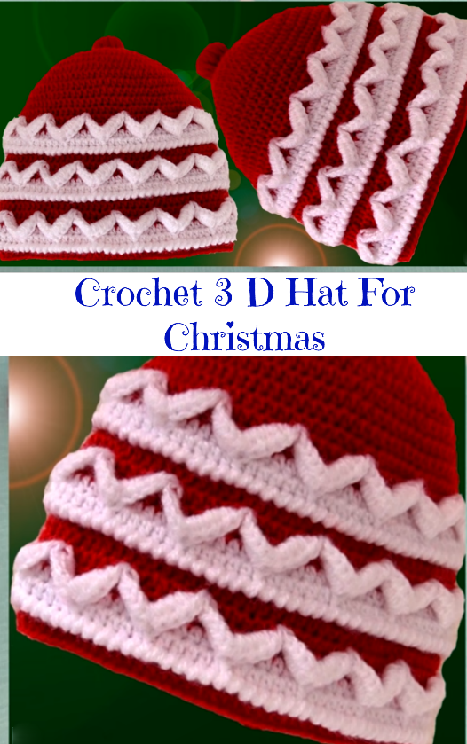 crochet 3d Christmas hat