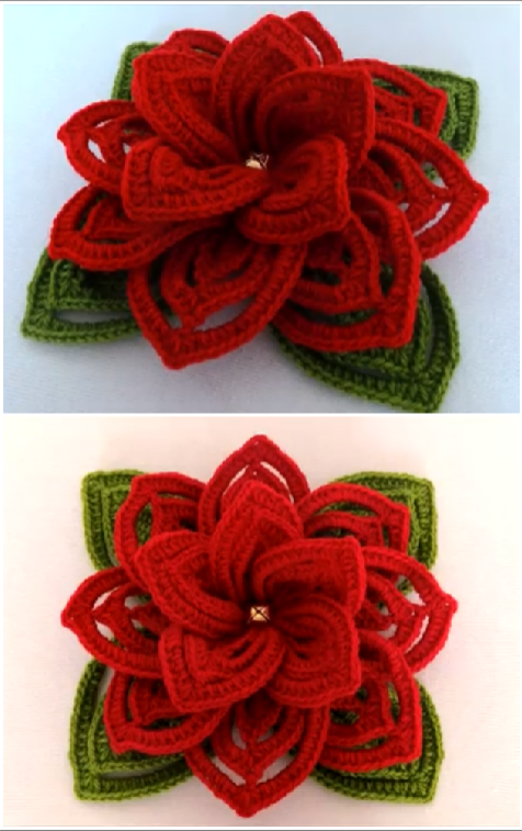how to crochet 3d flower with leaves