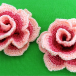 Crochet Colorful Roses With Leafs
