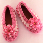 Crochet Slippers With Puff Braids And Flower