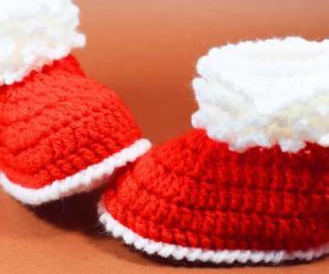 Crochet Fast And Easy Santa Shoes For Baby