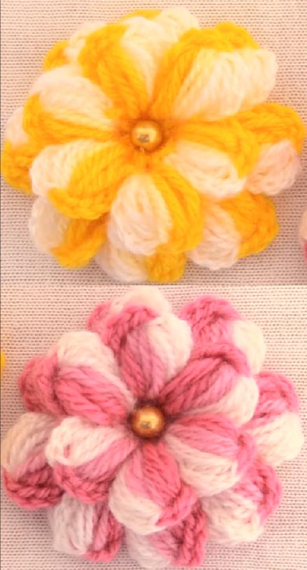 Crochet Colorful 3 D Flowers