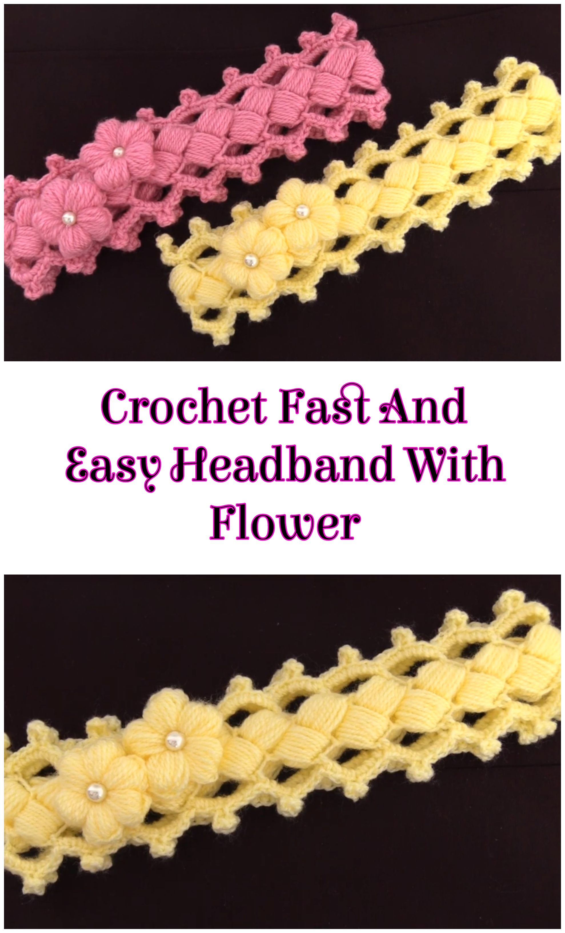 Crochet Fast And Easy Headband With Flower