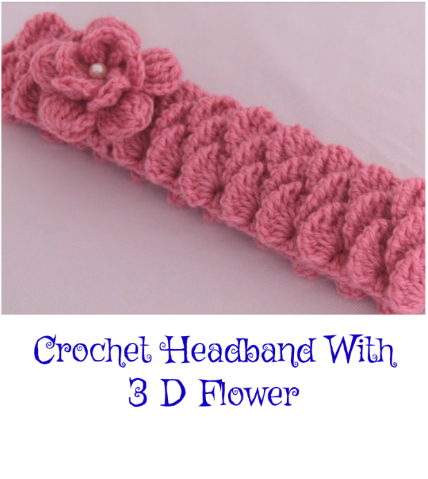 Crochet Headband With 3 D Flower