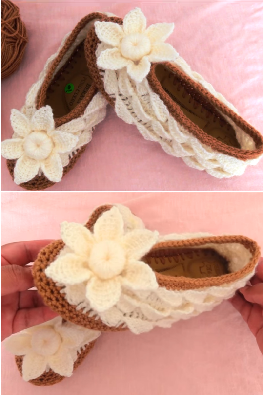 Crochet Shoes With 3 D Flower