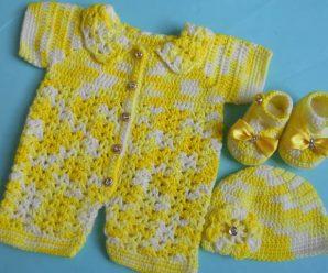 Crochet Baby Romper And Booties Set