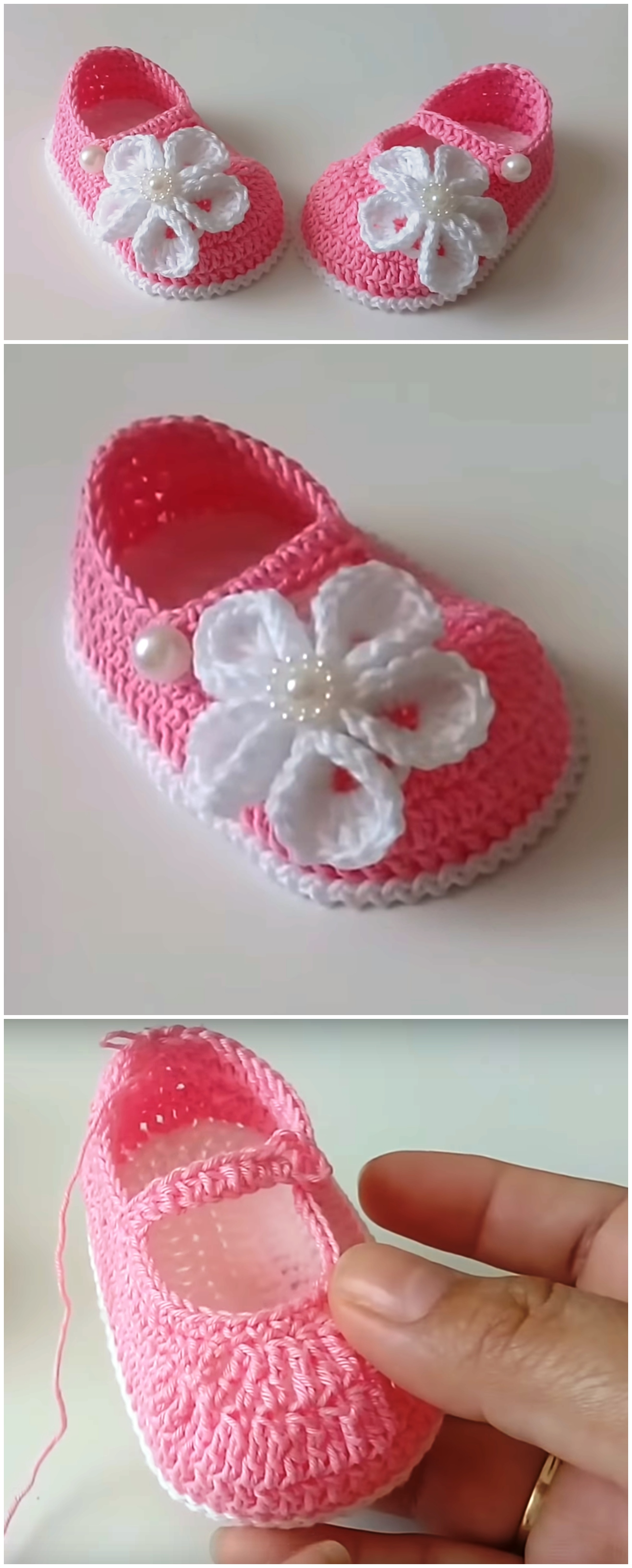 Crochet Baby Shoes With Cute Flower