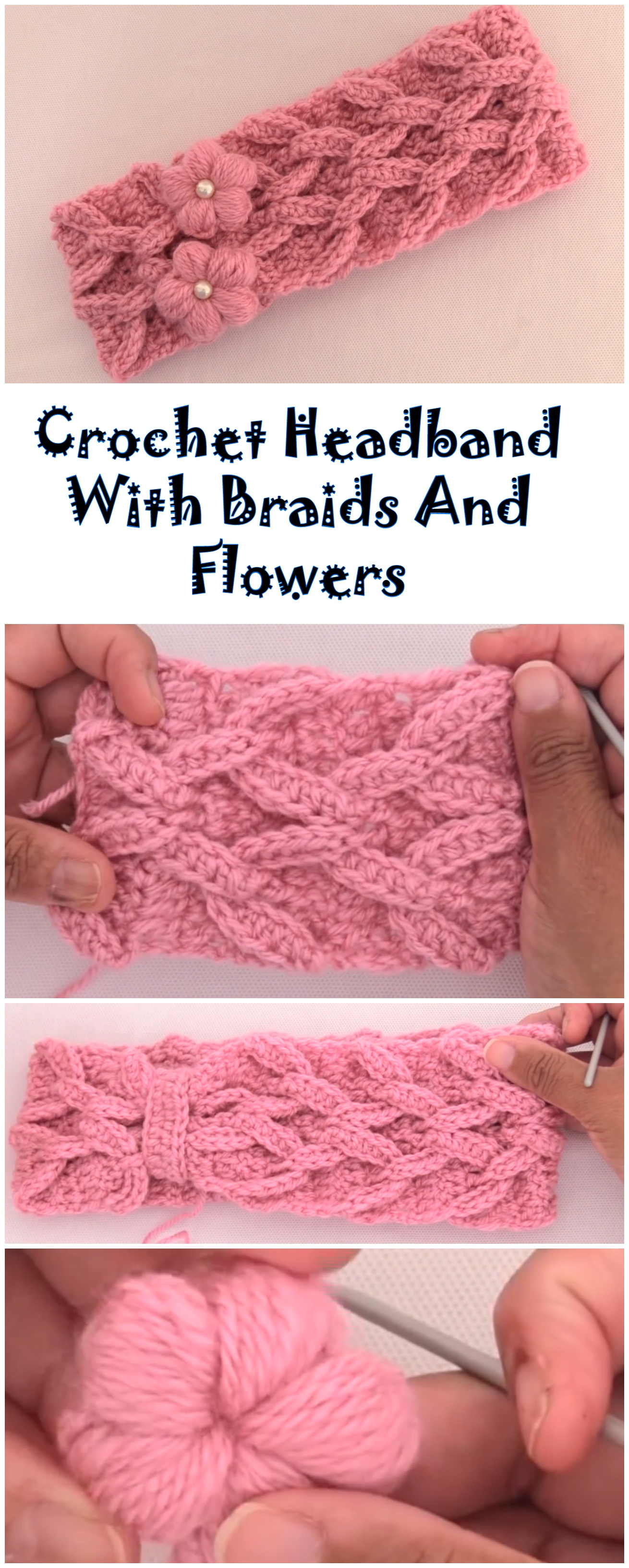 Crochet Headband With Braids And Flowers