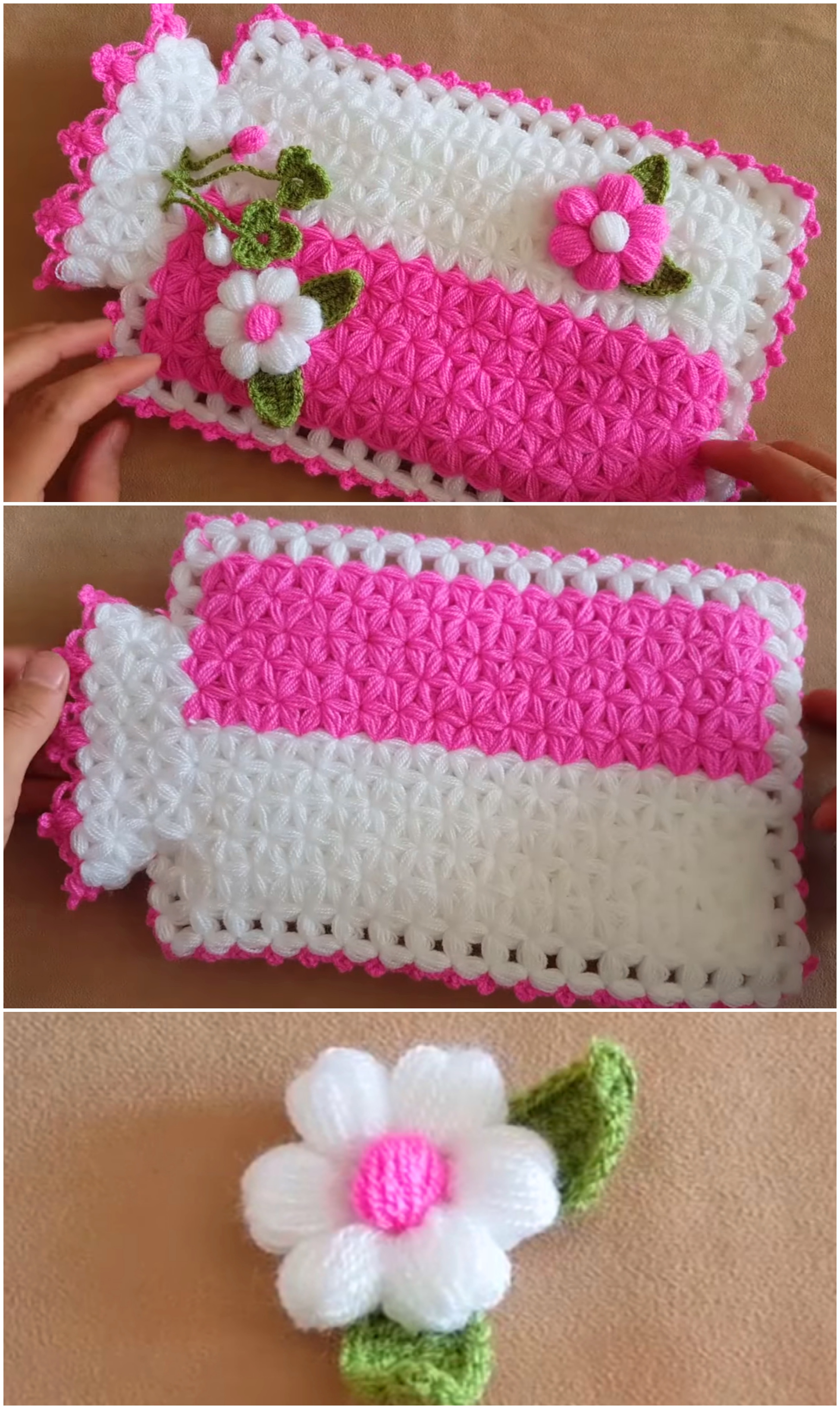 Crochet Hot Water Bottle Cover With Flowers