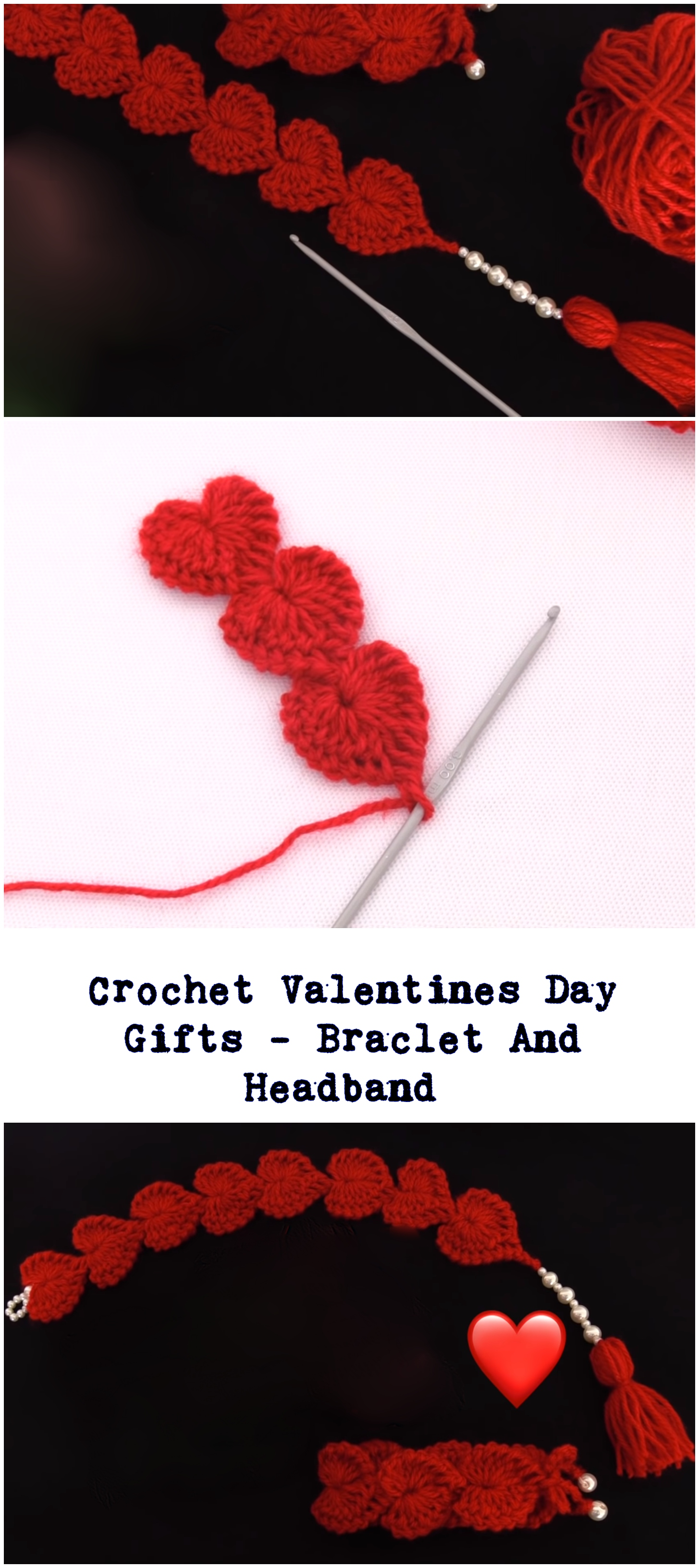 Crochet Valentines Day Gifts - Braclet And Headband
