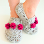 Crochet Mini Pom Pom Slippers