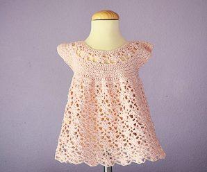Crochet Flower Stitch Dress For Baby