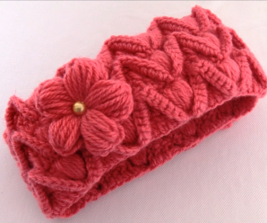 Crochet Beautiful Headband With 3 D Flower