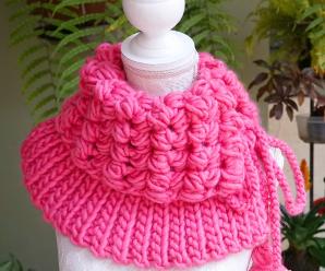 Crochet Bean And Rib Stitch Neck Warmer