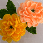 Crochet 3 D Rose Flower With Leaves