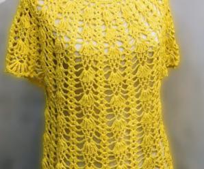 How To Crochet Short Sleeve Blouse For Summer