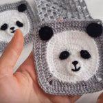Crochet Panda Baby Motif For Blankets