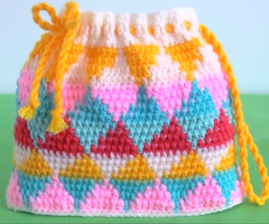 Crochet Rainbow Colored Bag With Triangles