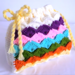 Crochet Tiny Marshmallow Stitch Rainbow Bag