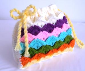 Crochet Tiny Marshmallow Stitch Rainbow Bag
