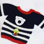 Crochet Baby Sweater With Bear Applique
