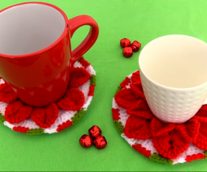 How To Crochet Christmas Coasters With 3 D Flowers