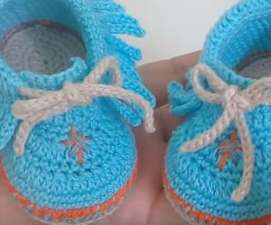 Crochet Fringed Ankle Boots For Baby