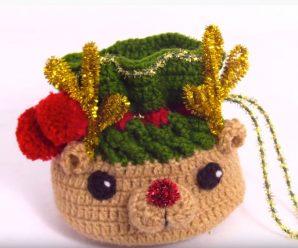 Crochet Mini Gift Bag For Christmas