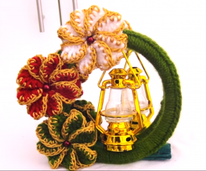 DIY Crochet Beautiful Centerpiece With Flower For Christmas