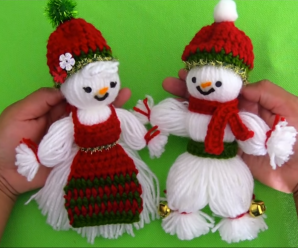 Christmas Gift Idea – Crochet Snowman And Woman