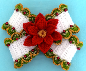 How To Crochet A Bow With Christmas Flower