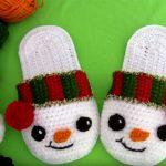 Crochet Snowman Slippers For Christmas