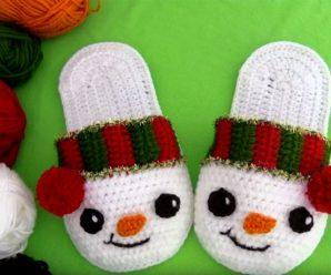 Crochet Snowman Slippers For Christmas