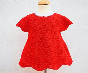 Crochet Baby Girl Dress For Christmas