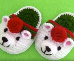 Crochet Polar Bear Slippers For Christmas