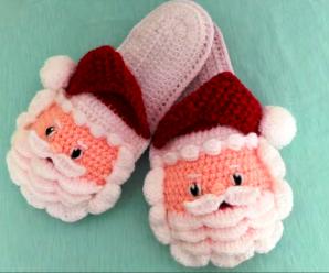 Crochet Lovely Santa Slippers