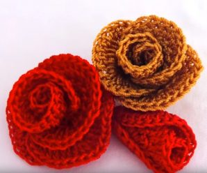 Crochet Rose Flower With A Half Circle