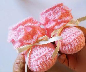 Crochet Crocodile Stitch Baby Shoes