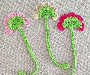 Crochet Flower Applique For Bookmark