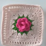 Crochet Simple Rose Square Motif