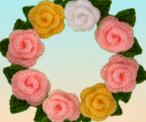 Crochet Tiny Roses With Leaves