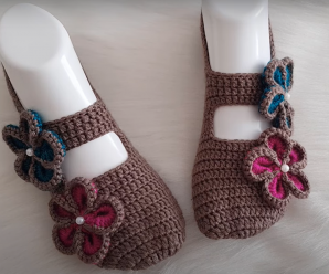 Crochet Slippers With Flowers