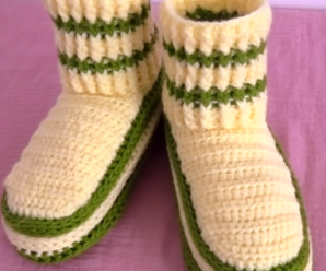 Crochet Elastic Stitch Slippers For Adults