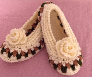 Crochet Slippers With Rose Flower
