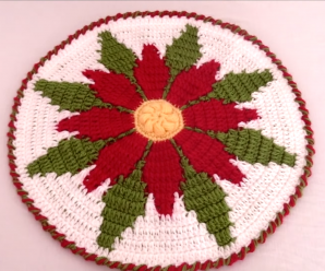 Crochet Doily With Christmas Flower