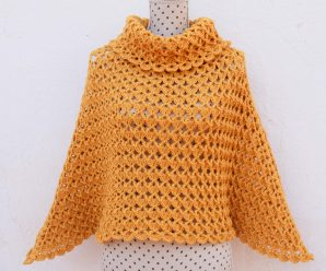 Crochet Turtleneck Poncho For Women