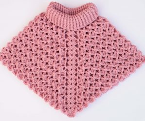 Crochet Turtleneck Poncho In All Sizes