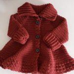 Crochet High Neck Coat For Girls